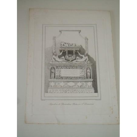 Incisione Napoli Sepolcro di Berardino Rota in S Domenico Pistolesi fine 800