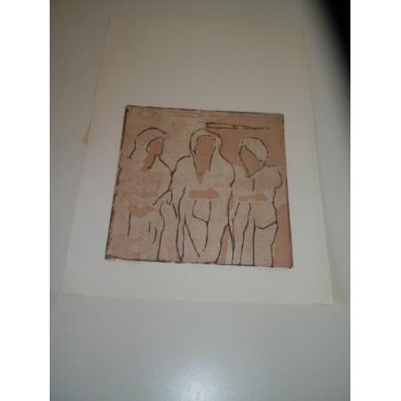 Marisa Mola incisione xilografia prova d autore senza titolo 1981