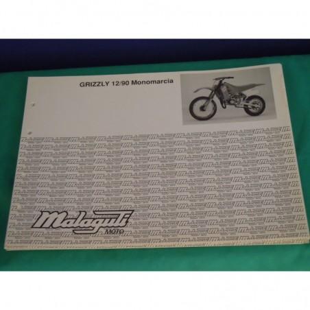 """Manuale scheda tecnica catalogo dei ricambi malaguti grizzly 10""""/90 mono"""