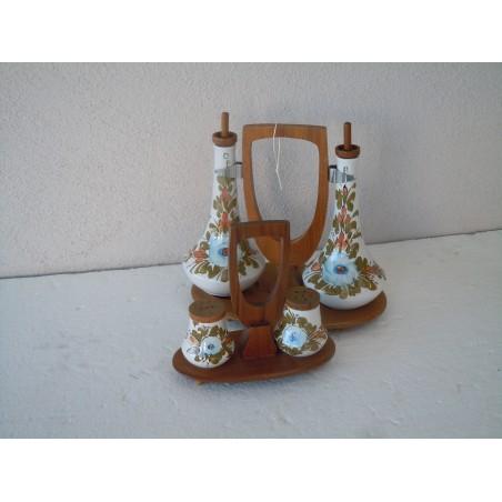 Set oliera sale e pepe in legno e ceramica Artek modernariato
