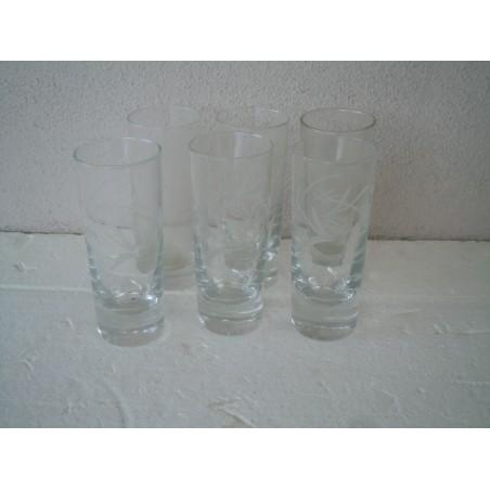 Vecchi bicchieri in vetro con incisione modernariato vintage 6 pezzi