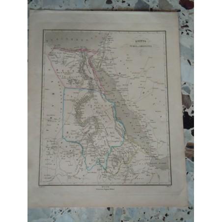 Cartina Stradale Egitto.Cartina Geografica Egitto Nubia Abissinia Incisione Allodi Pagnoni Editore