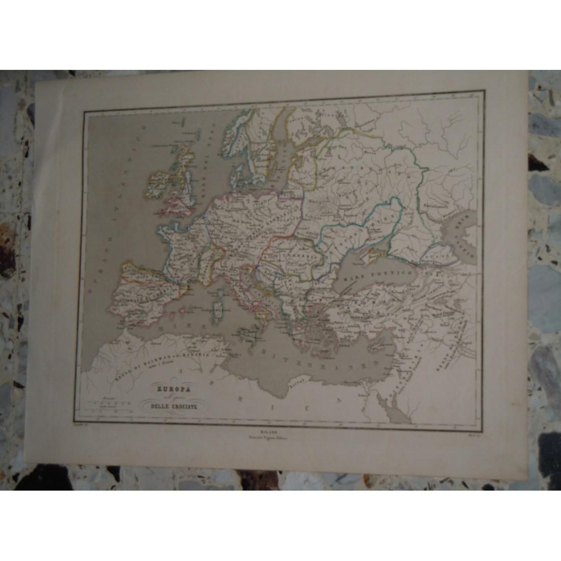 Cartina Giografica.Cartina Geografica Europa All Epoca Delle Crociate Incisione Allodi Pagnoni Editore