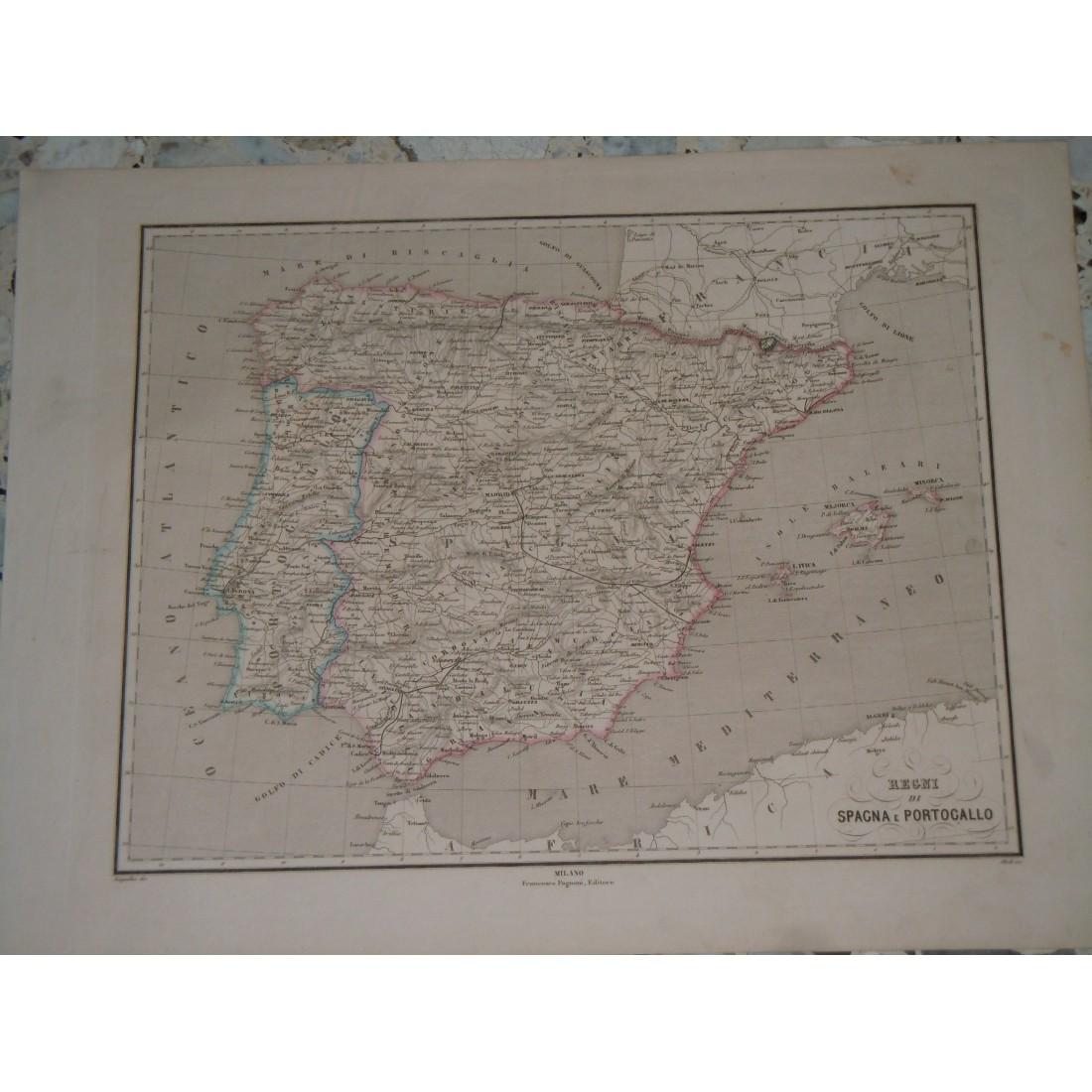 Portogallo Spagna Cartina.Cartina Geografica Regni Spagna E Portogallo Incisione Allodi Pagnoni Editore