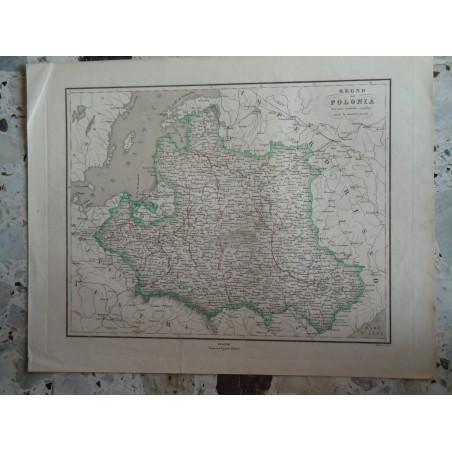 Cartina geografica Regno di Polonia avanti lo smembramento incisione Allodi Pagnoni editore