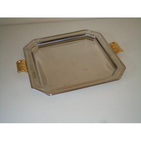 Vassoio in acciaio inox con manici in ottone cm 33x33