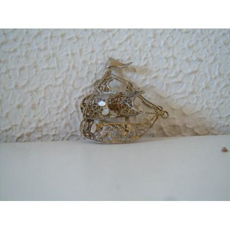 Spilla pins caravella barca in filigrana d argento