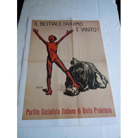 Manifesto Il bestiale fascismo è vinto copia riproduzione cm 50x35