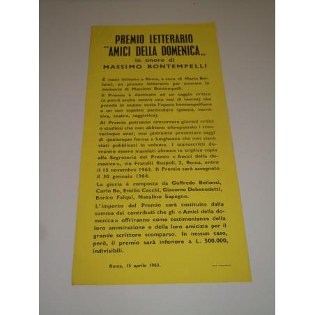 Premio letterario amici della domenica massimo bontempelli Roma 1963