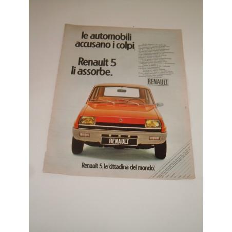 Pubblicità advertising Renault 5 la cittadina del mondo auto