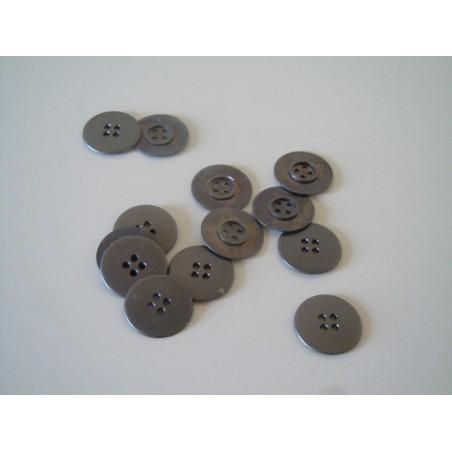 Bottoni metallici 20 pezzi grigio canna di fucile 4 fori a forma di disco