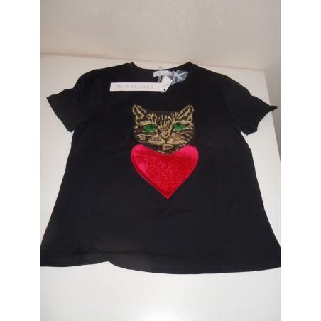 Maglietta T Shirt T donna nera taglia S/M applicazione  paillettes gatto e cuore