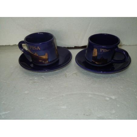 Coppia di tazze da caffè souvenir Pisa in porcellana