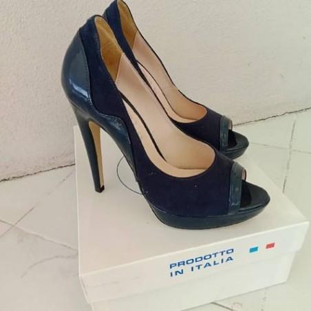 Decollete scarpa donna scamosciato blu misura 38
