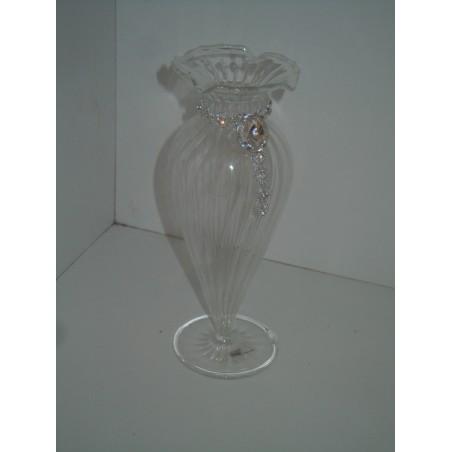 Vasetto portafiori Claraluna in vetro soffiato e strass