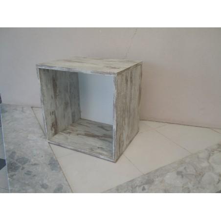 Cubo libreria da arredo in legno multistrato decapato